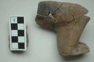 """Fragmento de """"pata"""" en cerámica hallada en la zona de acceso a la gran plaza (VIII 16 (1)). Foto: Francisco Valdez"""