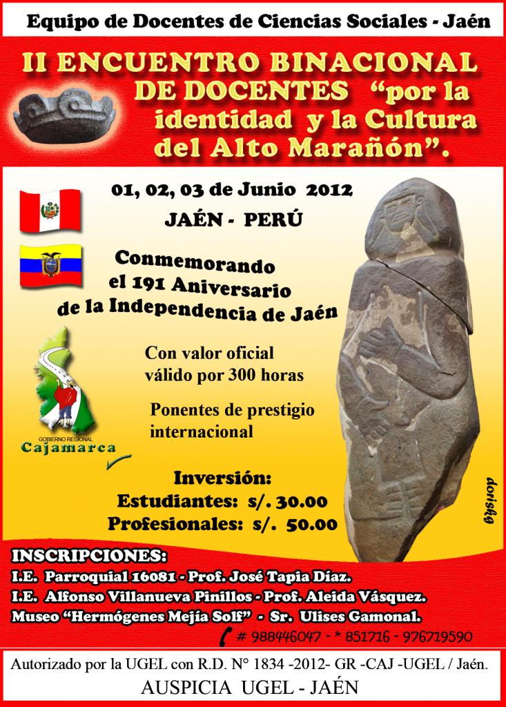 Afiche II Encuentro Binacional de Docentes De CCSS por la Identidad del Alto Marañon